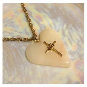 Vintage Stone Heart Cross Pendant Necklace